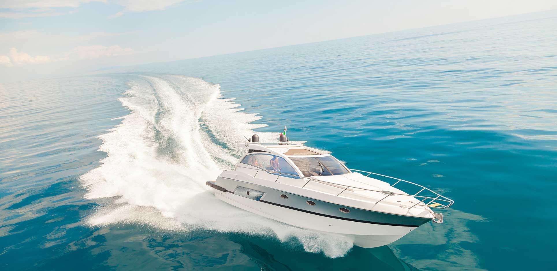Luxury yacht on the open water