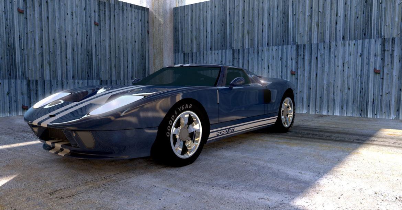 Blue Ford GT in parking garage