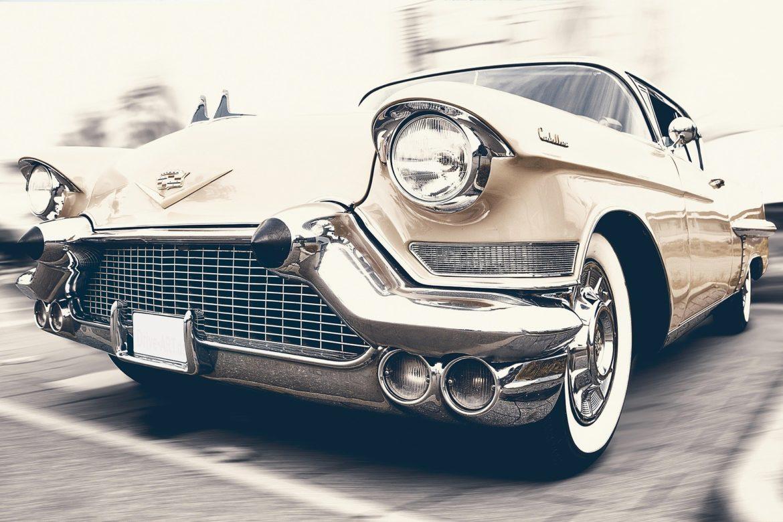 Classic car in a parking space